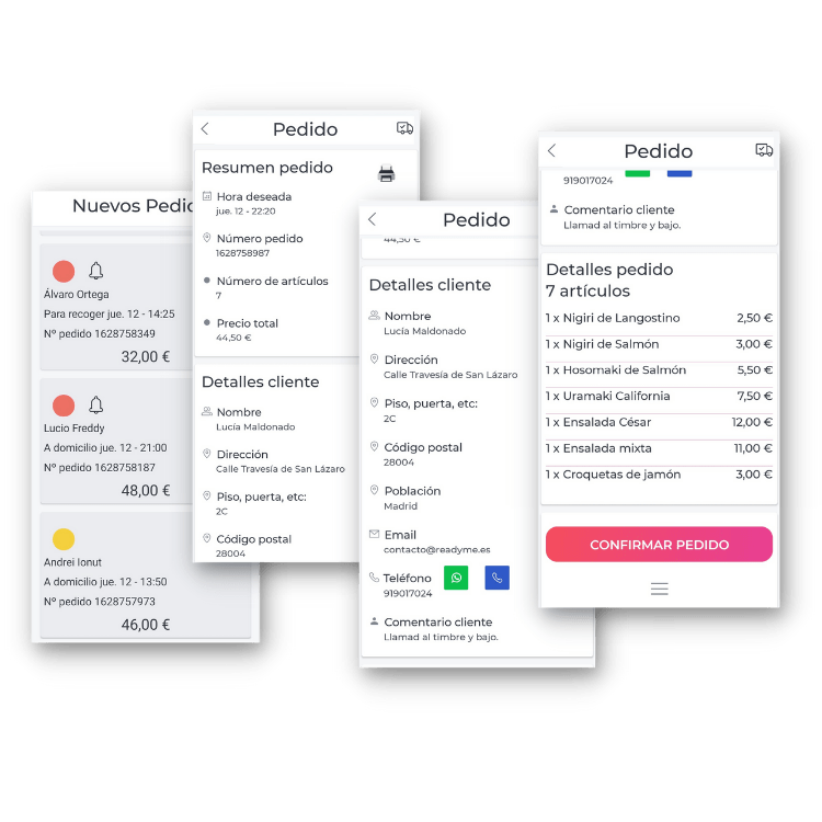 gestion de pedidos online readyme android