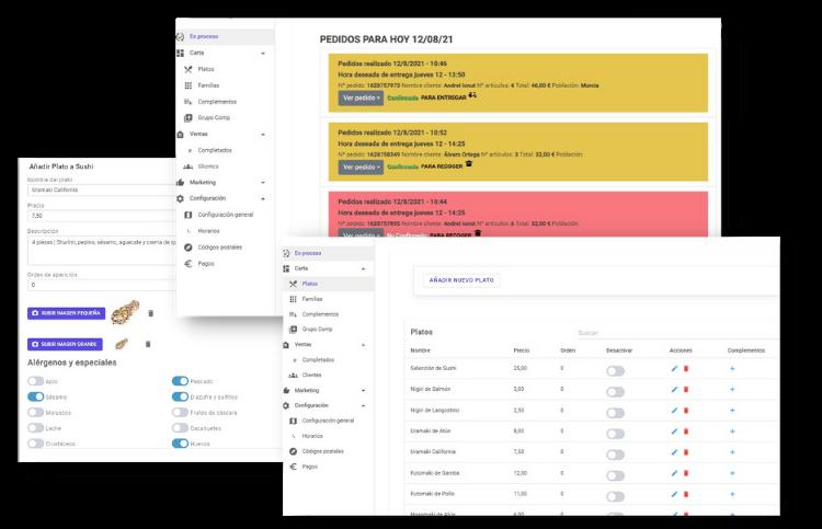 portal web readyme para gestion de pedidos online