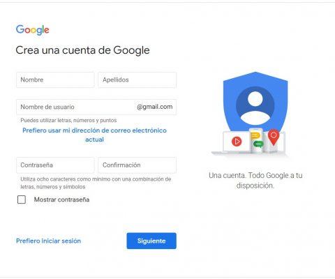 creacion de cuenta de Gmail