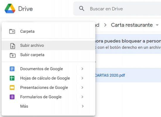 subir archivo a google drive